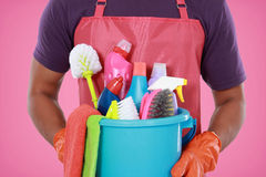 Portrait of hand with cleaning equipment Royalty Free Stock Photos