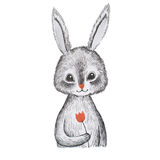 Portrait of hand-drawn cute cartoon grey hare holding a flower isolated on white background Royalty Free Stock Photos