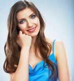 Portrait with hand of young smiling woman. Royalty Free Stock Image