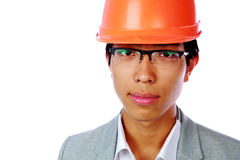 Portrait of a handsoem asian man in helmet Stock Photography