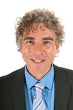 Portrait handsome adult man. With curly hair and formal suit Stock Images