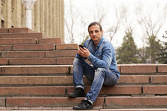 Portrait of a handsome adult man. In casual clothes Royalty Free Stock Photo
