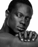 Handsome African American Man. Portrait of a handsome african american man - black and white Stock Photo
