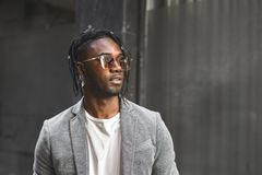 Portrait Handsome African American man elegant profile with sunglasses.Concept black man style stock images