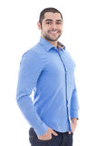 Portrait of handsome arabic business man in blue shirt isolated. On white background Stock Photography