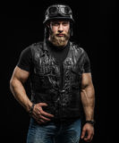 Portrait Handsome Bearded Biker Man in Leather Jacket and Helmet Stock Photography