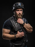 Portrait Handsome Bearded Biker Man in Leather Jacket and Helmet Stock Photos