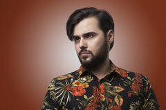 Portrait Handsome Bearded Man Wearing Stylish Color Shirt.Beauty,Lifestyle,People Concept Photo.Adult Serious Hipster Stock Image