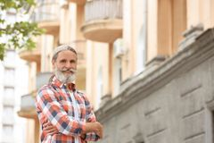 Portrait of handsome bearded mature man outdoors. Portrait of handsome bearded mature man, outdoors stock photography