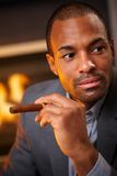 Portrait of handsome black man with cigar Stock Photography