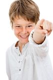 Portrait of handsome boy pointing at you. Close up Portrait of handsome boy pointing at you.Isolated on white Royalty Free Stock Image