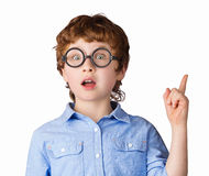 Portrait of handsome boy in round glasses who just Royalty Free Stock Images