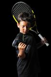 Portrait of handsome boy with tennis equipment Stock Photos