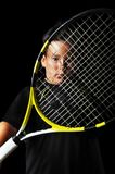 Portrait of handsome boy with tennis equipment Royalty Free Stock Image