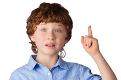 Portrait of handsome boy who just has got an idea. Portrait of handsome caucasian boy with inspired facial expression who just has got an idea. Isolated on white stock photos