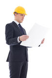 Portrait of handsome business man or architect in yellow builder Stock Images
