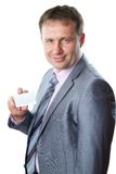Portrait of handsome  business man with blank card Royalty Free Stock Photos
