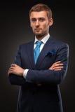 Portrait of handsome businessman on black royalty free stock photo