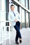 Portrait of an handsome businessman in urban setting Royalty Free Stock Photos