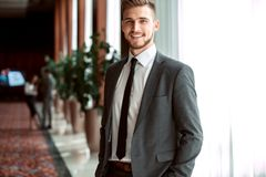 Portrait of an handsome businessman in an urban setting. Royalty Free Stock Photography