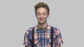 Portrait of handsome caucasian teen boy. stock footage