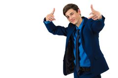 Portrait of a handsome cheerful teenager in a suit. On a white background stock images
