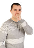 Portrait of a handsome coughing young man Royalty Free Stock Images