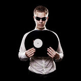 Portrait of handsome dj with vinyls Stock Image
