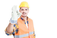 Portrait of handsome engineer or constructor making ok gesture Royalty Free Stock Photo