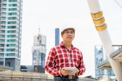 Portrait handsome engineer guy. Attractive handsome engineer man royalty free stock photo