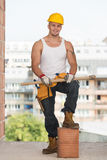 Portrait Of Handsome Engineer With Pickaxe Stock Photography