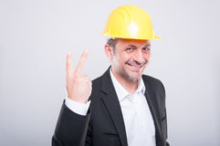 Portrait of handsome engineer showing number two gesture Stock Photography