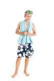 Portrait of a handsome European boy wearing swimming shorts. Studio shot, isolated on white background Royalty Free Stock Image