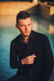 Portrait handsome fashion male model Royalty Free Stock Photos
