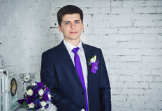 Portrait of handsome groom Stock Image
