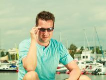 Portrait of handsome guy during summertime Stock Images