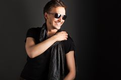 Portrait of a handsome guy, wearing sunglasses Stock Image