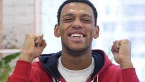 Portrait of Handsome Happy Afro-American Man Celebrating Success stock video footage