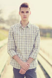 Portrait handsome hipster man in smart casual clothes Royalty Free Stock Images