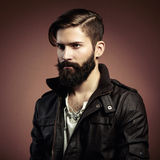 Portrait of handsome man with beard. Close-up Stock Photography