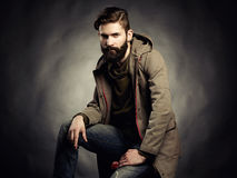 Portrait of handsome man with beard. Close-up stock photos