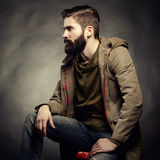 Portrait of handsome man with beard. Close-up Royalty Free Stock Photo