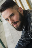 Portrait of handsome man with beard. Close-up Stock Photo