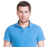 Portrait of handsome man in in blue shirt. Royalty Free Stock Images
