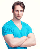 Portrait of handsome man in a blue shirt. Royalty Free Stock Photos