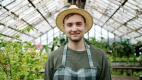 Portrait of handsome man farmer wearing hat and apron standing in greenhouse. Portrait of handsome young man farmer wearing hat and apron standing in greenhouse stock video footage