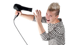 Portrait of handsome man with hairdryer  Stock Photography