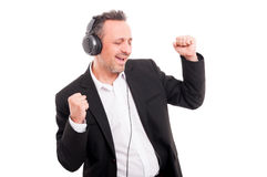 Portrait of handsome man with headphones smiling Stock Photography