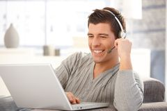 Portrait of handsome man with headset Stock Image