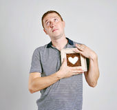 Portrait of a handsome man with heart Royalty Free Stock Images